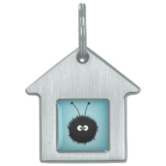 Blue Cute Fluffy Dazzled Bug Pet Name Tags