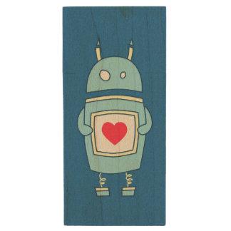Blue Cute Heart Holding Cartoon Robot Wood USB 2.0 Flash Drive