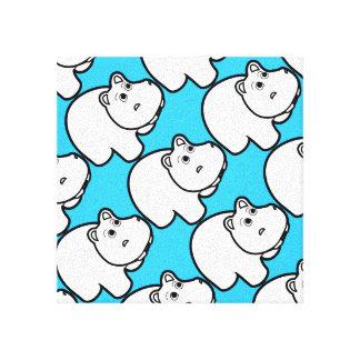 Blue Cute Hippo Canvas Print