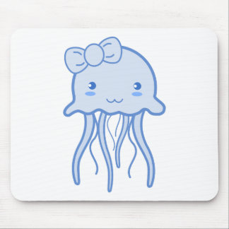 Blue Cute Jellyfish Mouse Pad