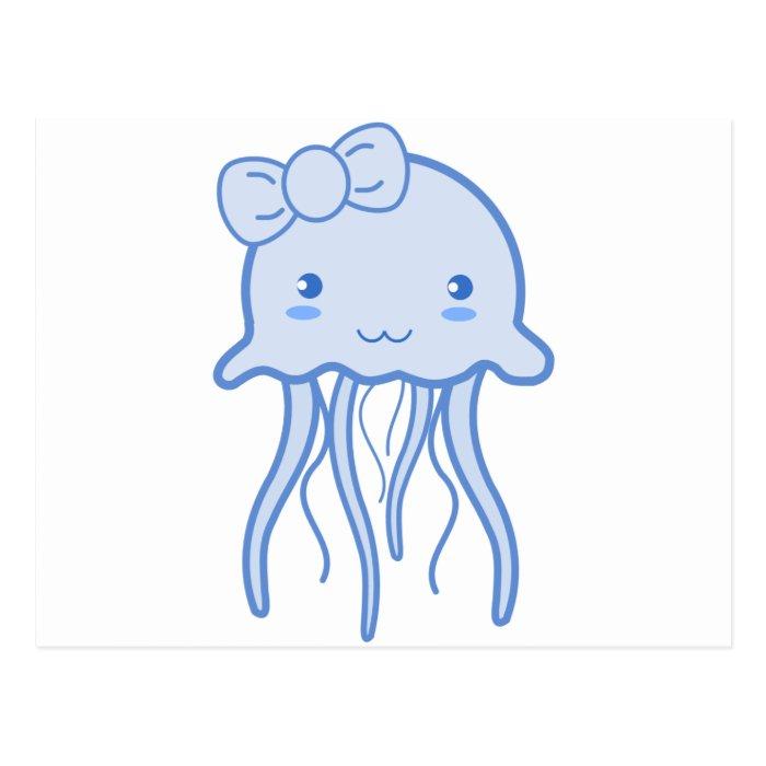 Blue Cute Jellyfish Postcard
