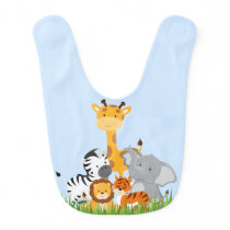 Blue Cute Jungle Baby Animal Baby Bib