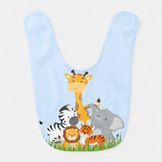 Blue Cute Jungle Baby Animal Baby Bib