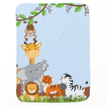 Blue Cute Jungle Baby Animal Baby Blanket
