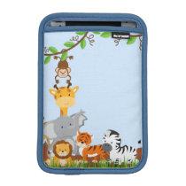 Blue Cute Jungle Baby Animal iPad Mini Sleeve