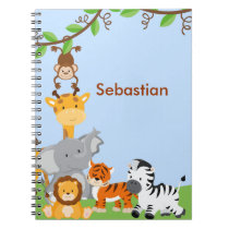 Blue Cute Jungle Baby Animal Notebook
