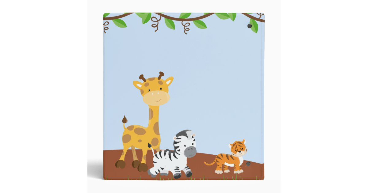 blue cute jungle baby animal photo album binder
