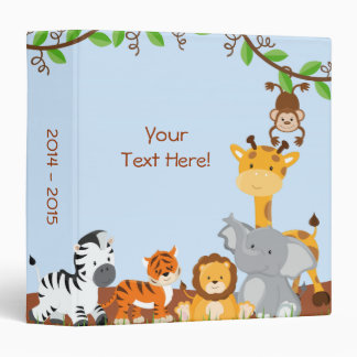 Blue Cute Jungle Baby Animal Photo Album Binder