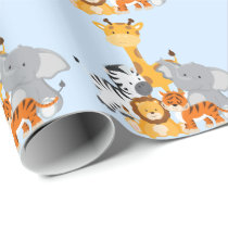 Blue Cute Jungle Baby Animal Wrapping Paper