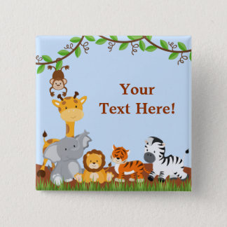 Blue Cute Jungle Baby Animals Button