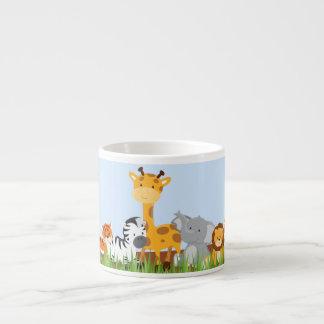 Blue Cute Jungle Baby Animals Espresso Mug 6 Oz Ceramic Espresso Cup