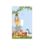 Blue Cute Jungle Baby Animals Light Switch Cover
