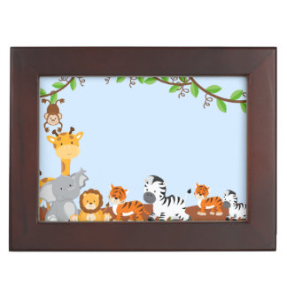 Blue Cute Jungle Baby Animals Memory Boxes