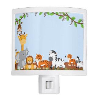 Blue Cute Jungle Baby Animals Night Light