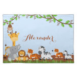 Blue Cute Jungle Baby Animals Placemat Cloth Place Mat