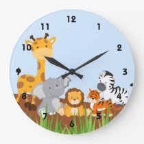Blue Cute Jungle Baby Animals Wall Clocks