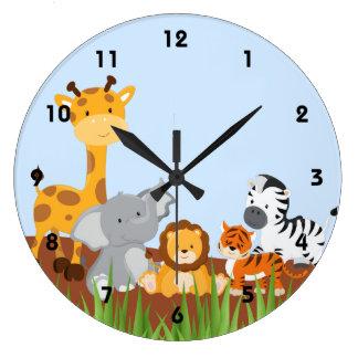 Blue Cute Jungle Baby Animals Wall Clocks