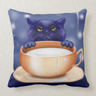 Blue cute kitty cat coffee cup throw pillow