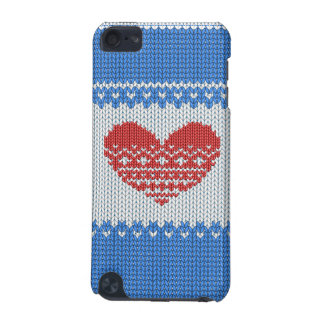Blue Cute Knitted Look Love Red Heart iPod Touch (5th Generation) Covers