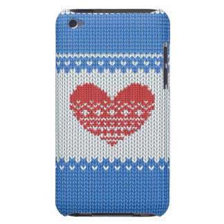 Blue Cute Knitted Look Love Red Heart iPod Touch Cover