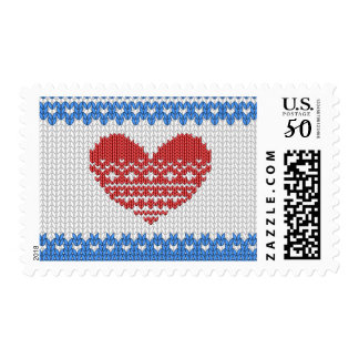 Blue Cute Knitted Look Love Red Heart Postage