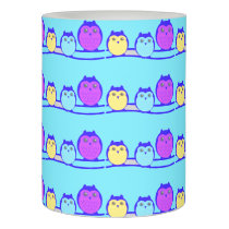 Blue Cute Owl Family Flameless Candle