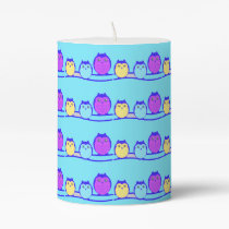 Blue Cute Owl Family Pillar Candle