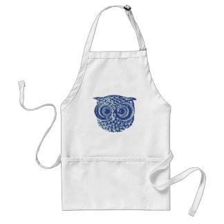 Blue cute owl picture adult apron
