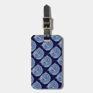 Blue cute owl picture luggage tags