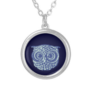 Blue cute owl picture round pendant necklace