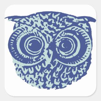 Blue cute owl picture square sticker