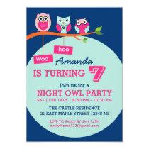 Blue Cute Owl Polka Dots Birthday Invitation