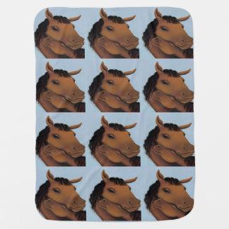 Blue Cute Pony Baby Blanket