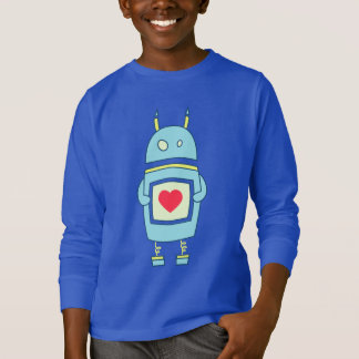 Blue Cute Robot With Heart Dark Kids Long Sleeve T-Shirt