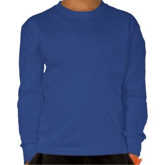 Blue Cute Robot With Heart Dark Kids Long Sleeve T-shirts