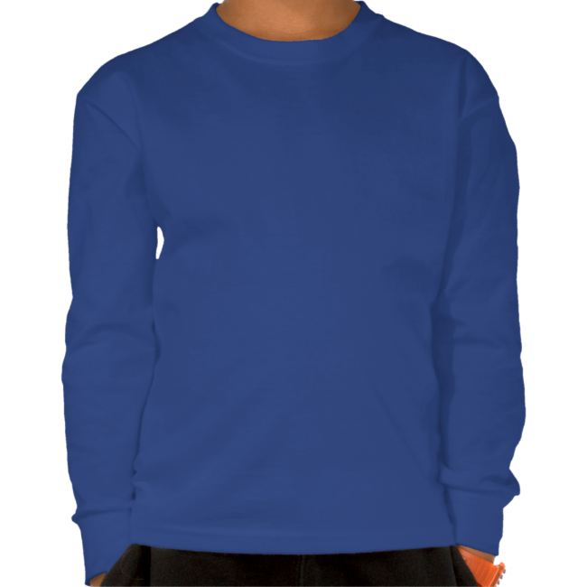 Blue Cute Robot With Heart Dark Kids Long Sleeve Tshirts