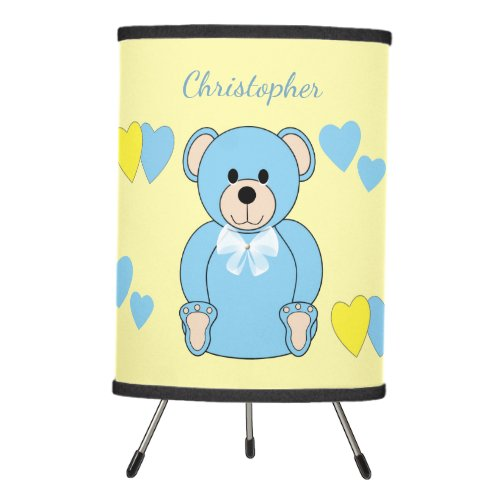Customized|Blue Teddy Bear With Yellow Background | Nursery Lamp For Baby Boy