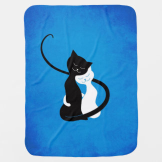 Blue Cute White And Black Cats In Love Swaddle Blanket