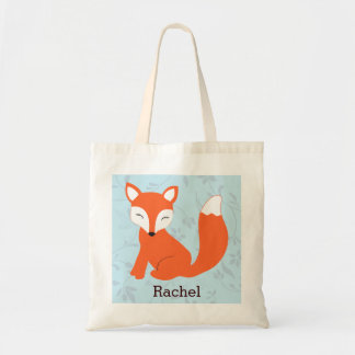 Blue Cute Woodland Baby Fox Personalized Tote