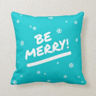 Blue/Cyan Be Merry Marker Pen Christmas Snowflake Throw Pillow