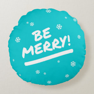 Blue/Cyan Be Merry Marker Pen Holiday Snowflake Round Pillow