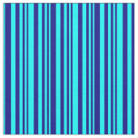 [ Thumbnail: Blue & Cyan Colored Pattern of Stripes Fabric ]