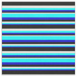[ Thumbnail: Blue, Cyan, Light Cyan & Black Colored Lines Fabric ]