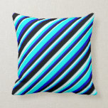 [ Thumbnail: Blue, Cyan, Light Cyan & Black Colored Lines Throw Pillow ]