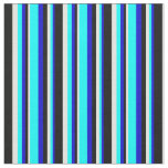 [ Thumbnail: Blue, Cyan, Light Yellow & Black Colored Pattern Fabric ]