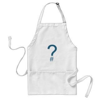Blue/Cyan Question Tag/Hash Mark Adult Apron