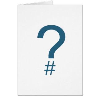 Blue/Cyan Question Tag/Hash Mark Card