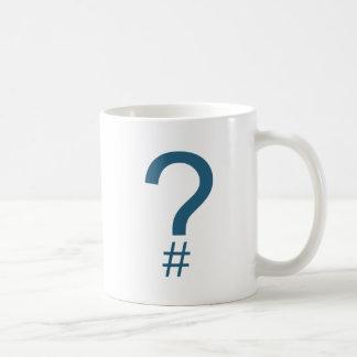 Blue/Cyan Question Tag/Hash Mark Coffee Mug