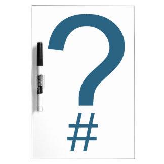 Blue/Cyan Question Tag/Hash Mark Dry-Erase Board
