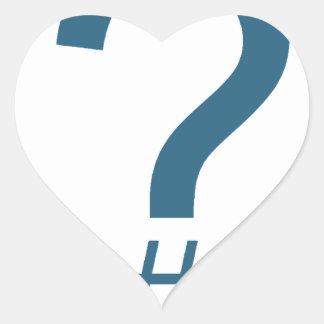 Blue/Cyan Question Tag/Hash Mark Heart Sticker